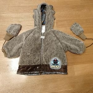 OILILY BABY INFANT WINTER COAT W/MITTENS 6 MONTHS